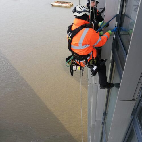 High Level Structural Glazing using Rope Access